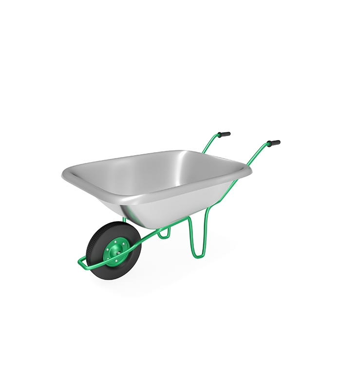 Wheelbarrow with Steel Handles and Flat Free Tire